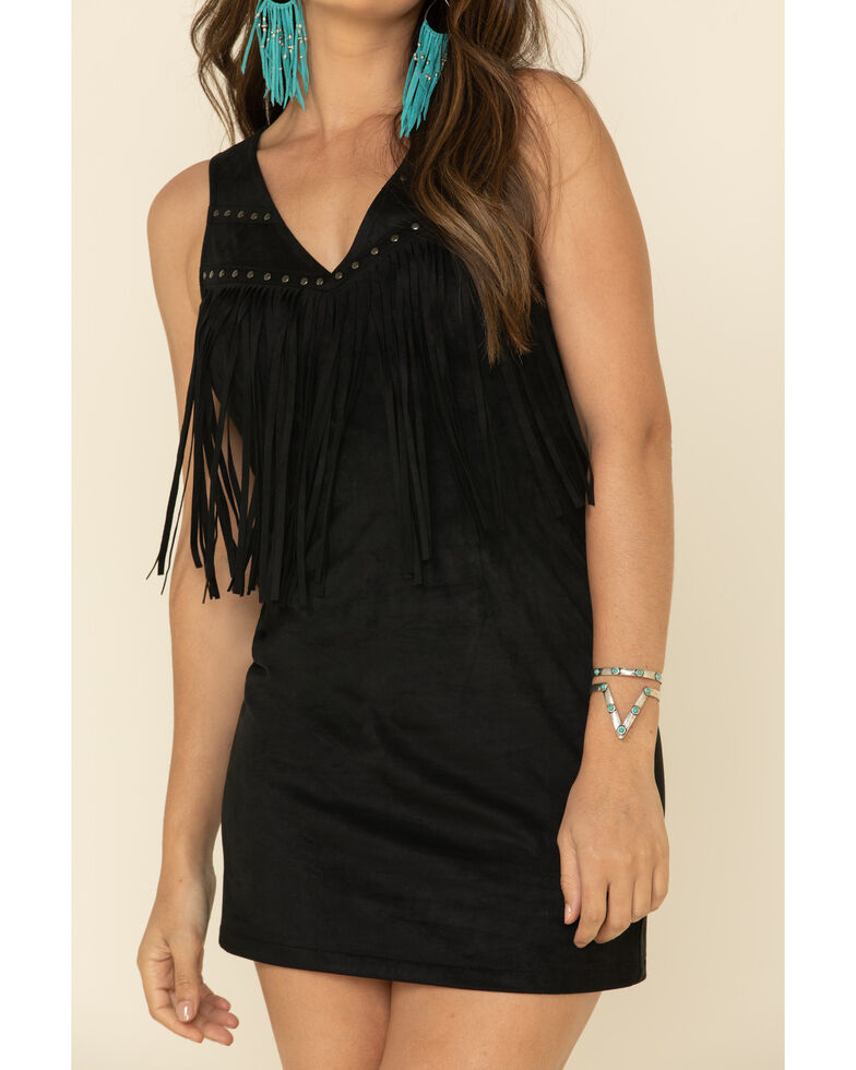 Idyllwind Women's Queen Of Country Fringe Dress, Black, hi-res