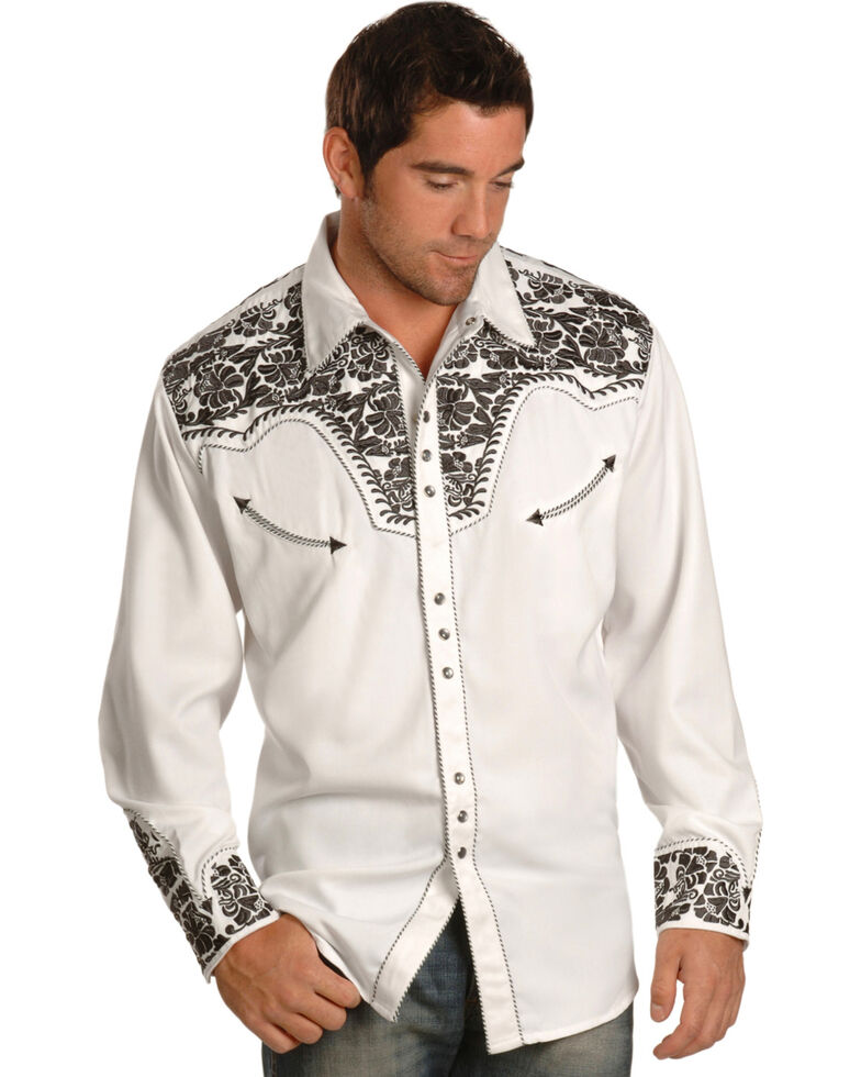 Scully Men's Pewter Embroidered Gunfighter Shirt, Steel, hi-res
