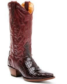 Dan Post Women's Exotic Crocodile Leather Western Boots - Snip Toe, Burgundy, hi-res