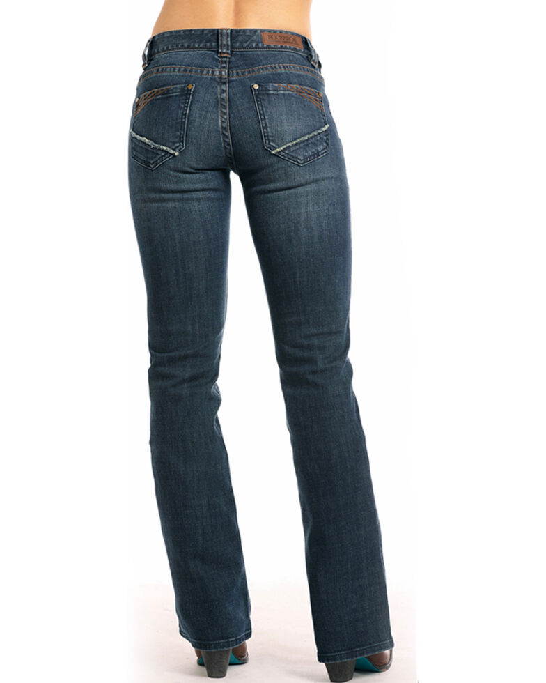 Rock & Roll Cowgirl Women's Corner Embroidered Boot Cut Jeans , Indigo, hi-res