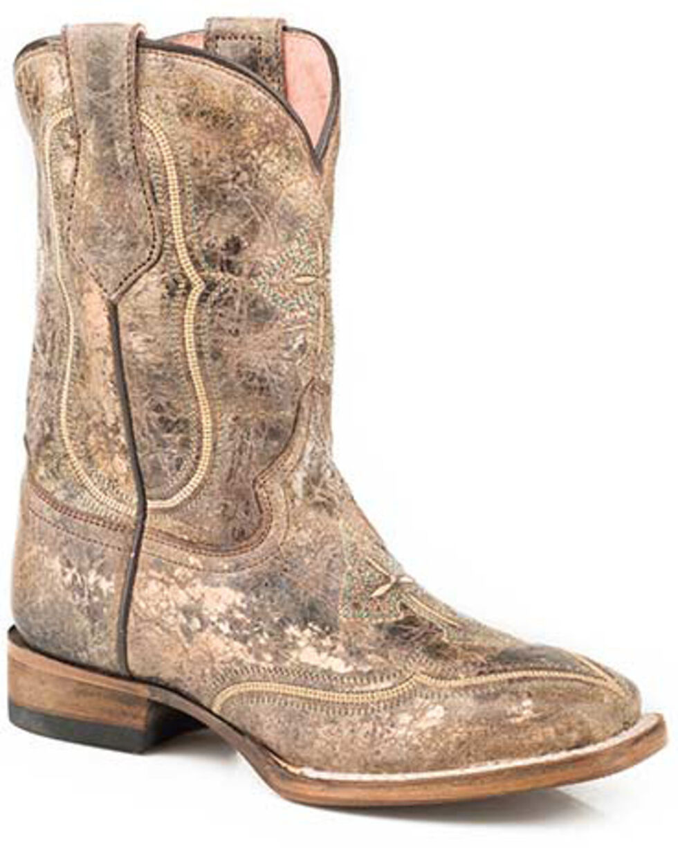 Roper Girls' Pure Western Boots - Square Toe, Brown, hi-res