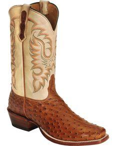 Nocona Men's Waxy Full Quilll Ostrich Cowboy Boots - Square Toe, Cognac, hi-res