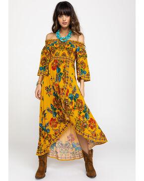 Flying Tomato Women's Floral Smocked Off Shoulder Tulip Hi Lo Dress, Dark Yellow, hi-res