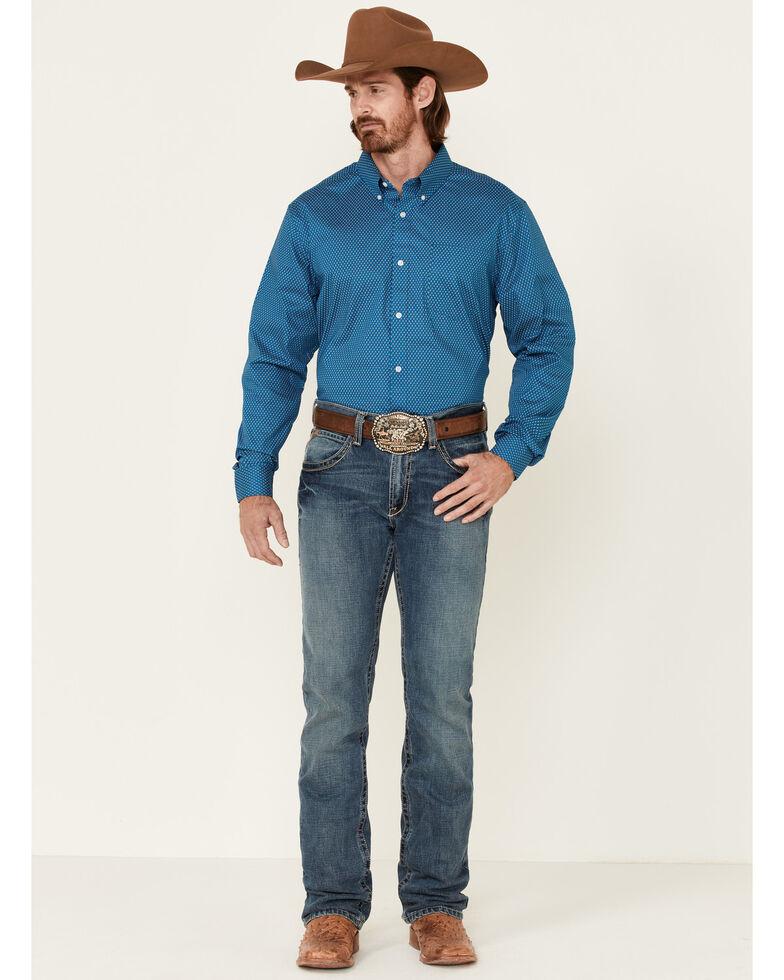 Cody James Core Men's Morse Code Geo Print Long Sleeve Button-Down Western Shirt , Blue, hi-res