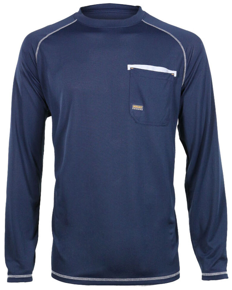 Ariat Men's Rebar Sun Stopper Long Sleeve Shirt , Navy, hi-res