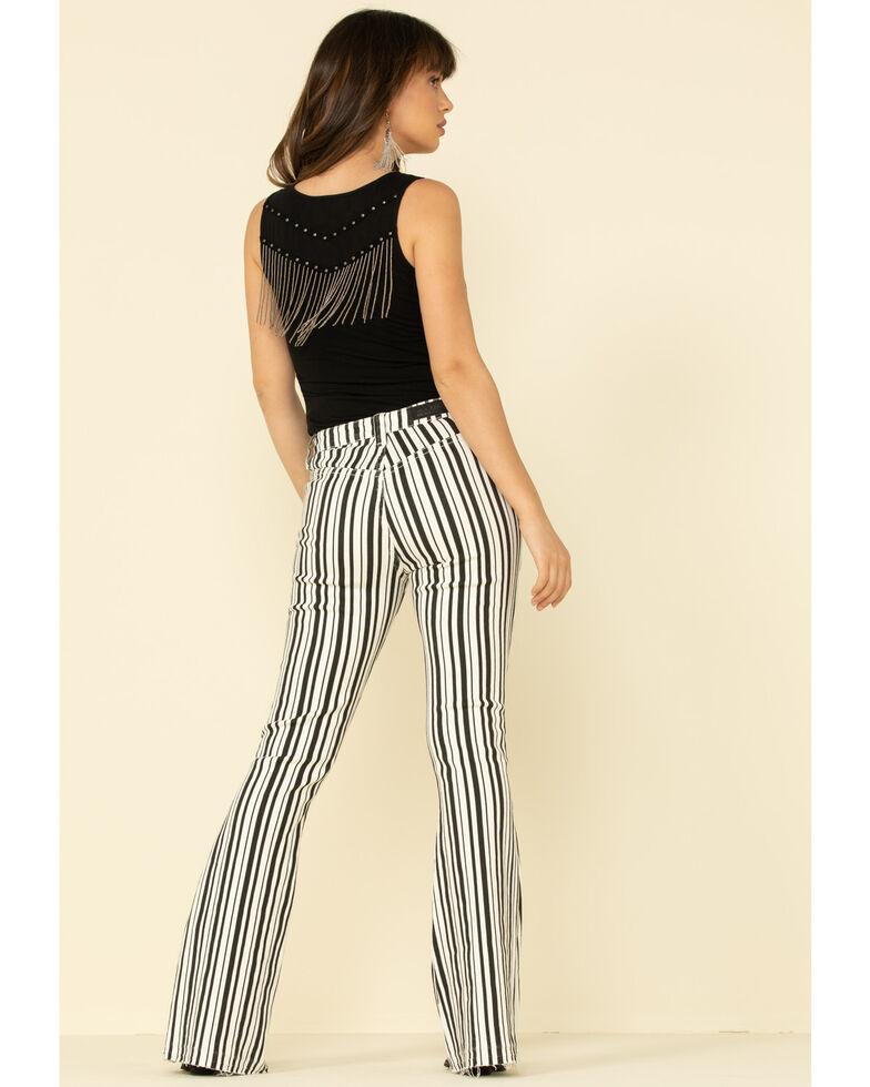 Rock & Roll Denim Women's Stripe High Rise Flare Jeans, White, hi-res