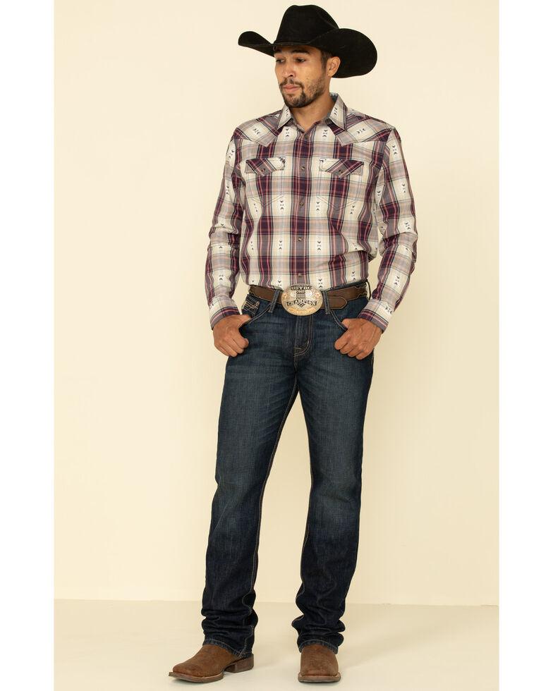 Cody James Men's Las Cruces Large Plaid Long Sleeve Western Shirt , Maroon, hi-res