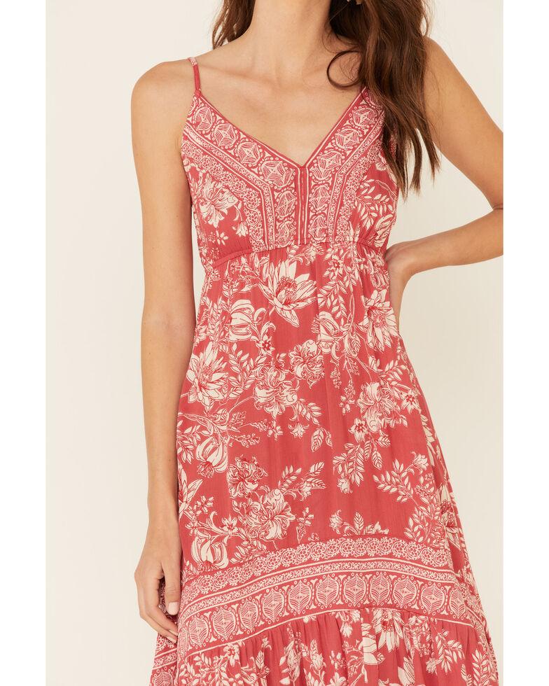Nostalgia Women's Red Floral Print Hi-Low Maxi Dress, Red, hi-res
