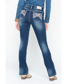 Grace In LA Women's Embroidered Pocket Boot Jeans, Indigo, hi-res
