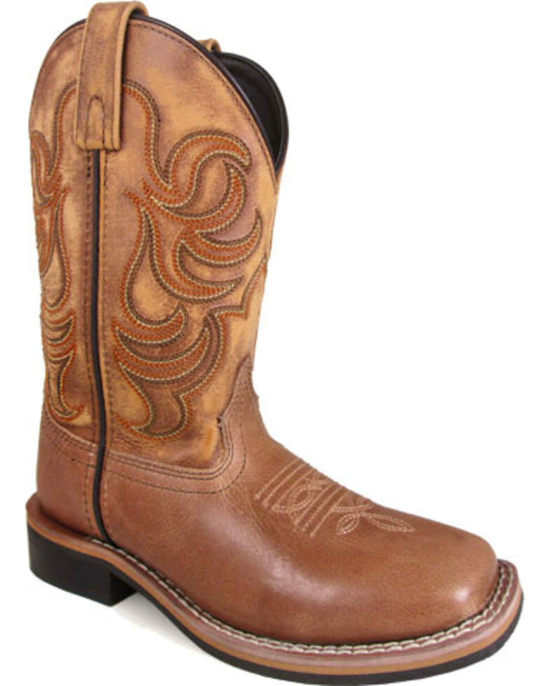 Smoky Mountain Boys' Tan Leroy Stitched Leather Boots - Square Toe , Tan, hi-res