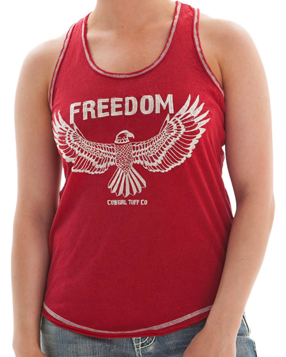 Cowgirl Tuff Women's Support the Spirit Tank, Red, hi-res