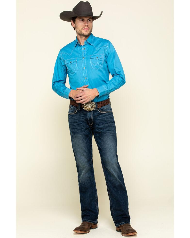 Wrangler Retro Men's Blue Solid Long Sleeve Western Shirt , Blue, hi-res
