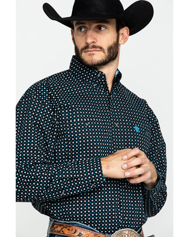 George Strait By Wrangler Men's Small Diamond Geo Print Long Sleeve Western Shirt , Black, hi-res