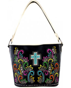Montana West Spiritual Collection Cut Out Pattern with Color Embroidery Tote, Khaki, hi-res