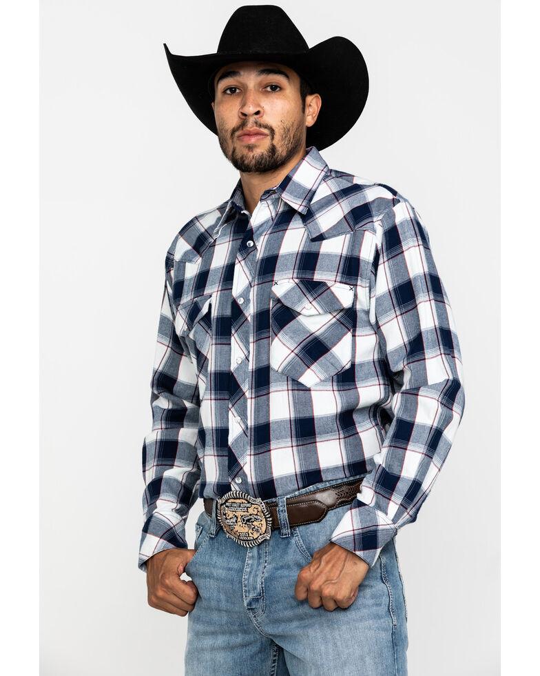 Resistol Men's Navy Saddlehorn Large Plaid Long Sleeve Western Shirt , Navy, hi-res