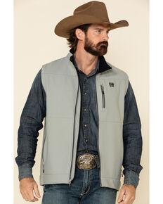 Cinch Men's Grey Solid Textured Bonded Vest , Grey, hi-res
