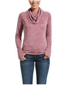 Ariat Women's Rose Cocoa Gridwork Cowl Baselayer Top, Rose, hi-res