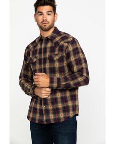 Moonshine Spirit Men's Tavern Dobby Plaid Long Sleeve Western Flannel Shirt , Brown, hi-res