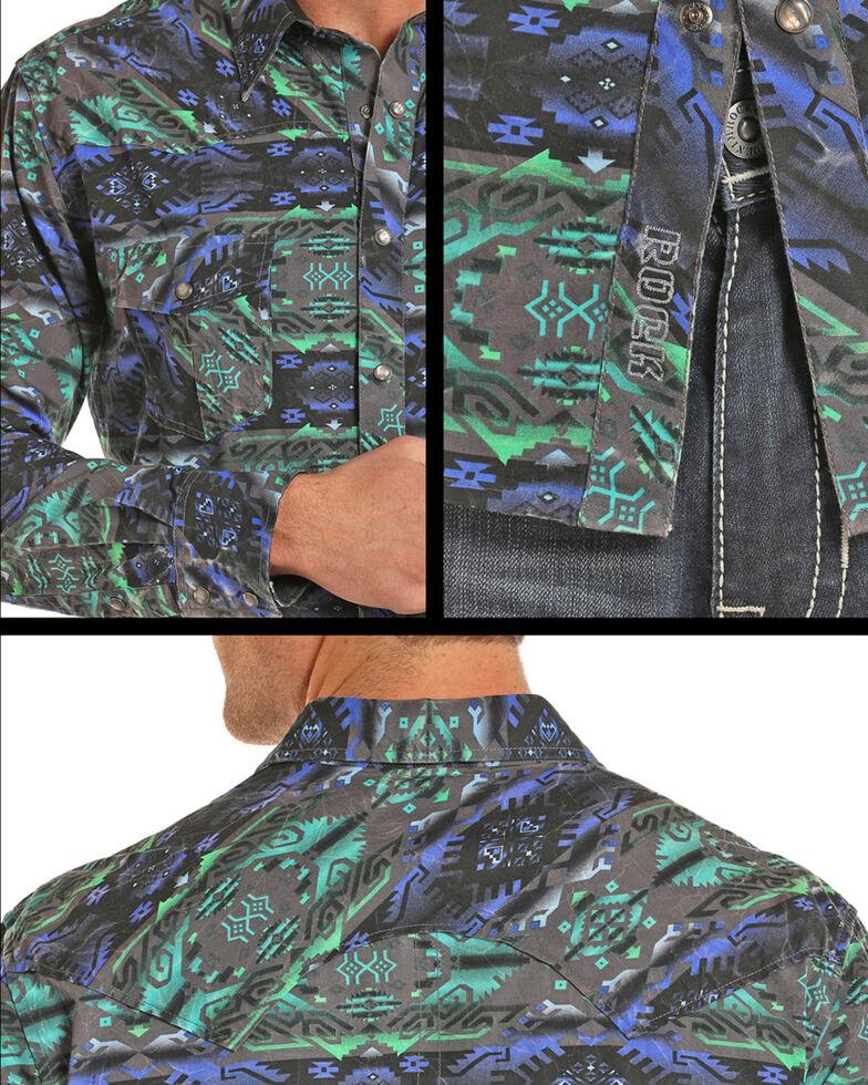 Rock & Roll Cowboy Men's Crinkle Washed Aztec Long Sleeve Snap Shirt, Teal, hi-res