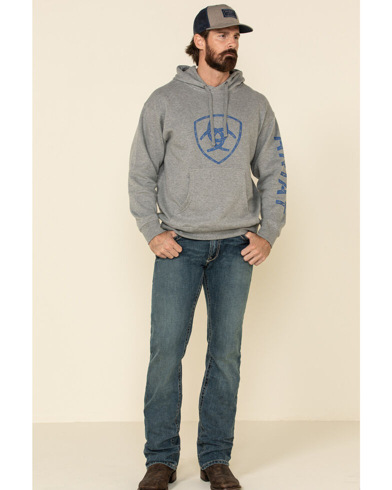 Ariat Men's Grey Heather Classic Logo Graphic Hooded Sweatshirt , Heather Grey, hi-res