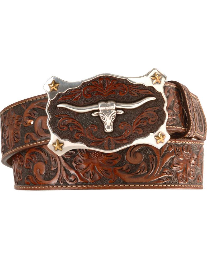 Justin Longhorn Buckle Leather Belt - Reg. & Big, Tan, hi-res