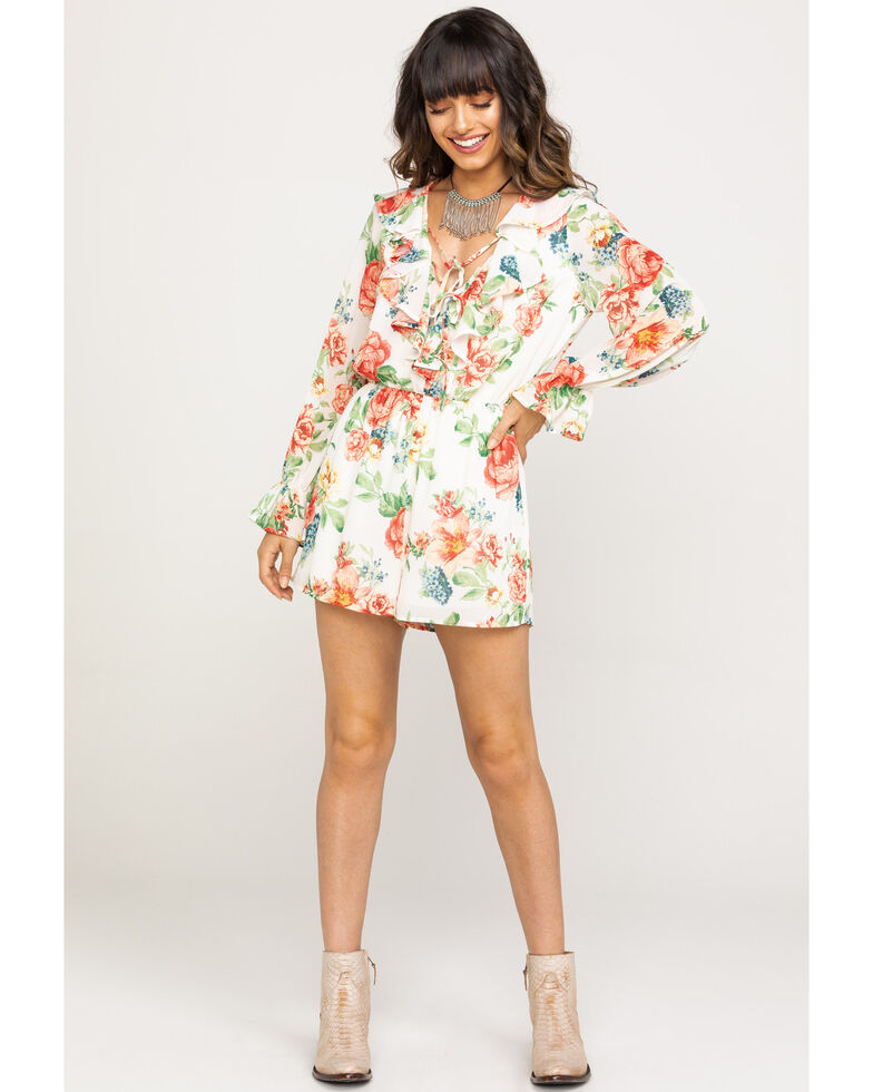 Flying Tomato Women's Ivory Floral Ruffle Chiffon Romper, Ivory, hi-res