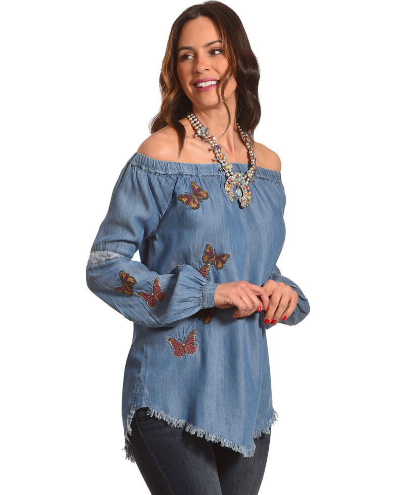 Billy T Women's Blue Off The Shoulder Butterfly Top , Blue, hi-res