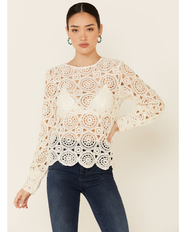 Saints & Hearts Women's All Over Lace Long Sleeve Top , White, hi-res