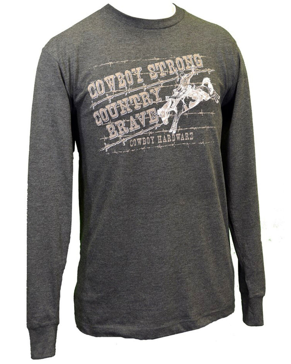 Cowboy Hardware Men's Cowboy Strong Country Brave Graphic Long Sleeve Shirt , Heather Grey, hi-res