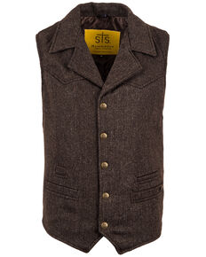 STS Ranchwear Men's Brown Wool Gambler Vest , Brown, hi-res