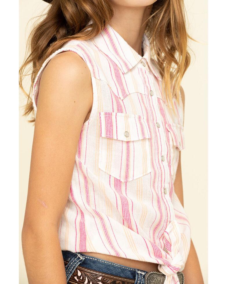 Shyanne Girls' Orange & Pink Stripe Snap Tie Front Sleeveless Western Shirt, Pink, hi-res