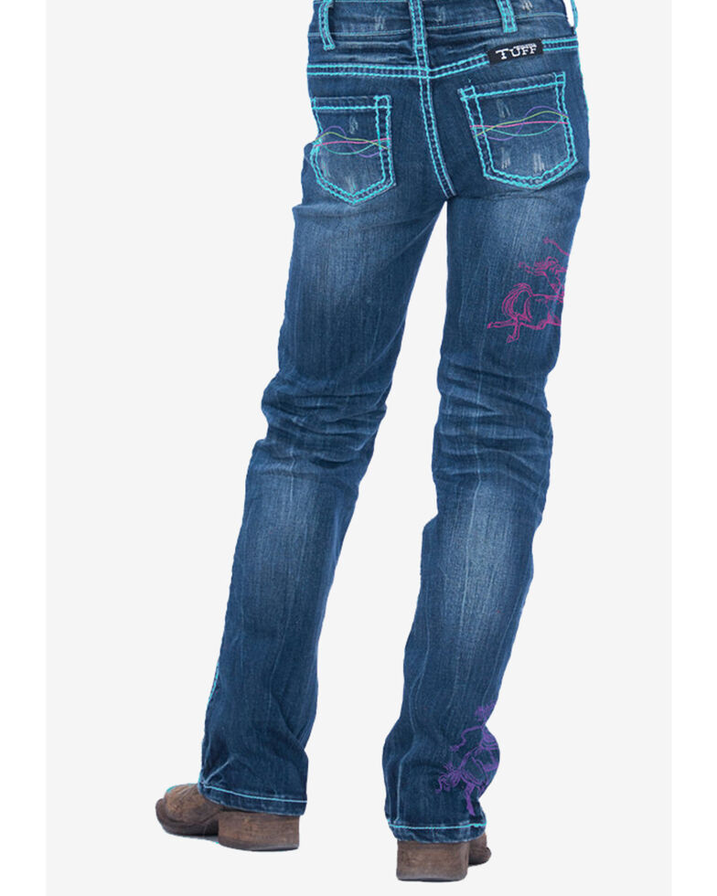 Cowgirl Tuff Girls' Rodeo Bootcut Jeans, Blue, hi-res