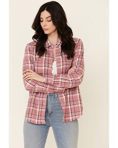 Flag & Anthem Women's Escalon Plaid Long Sleeve Snap Western Core Shirt , Mauve, hi-res