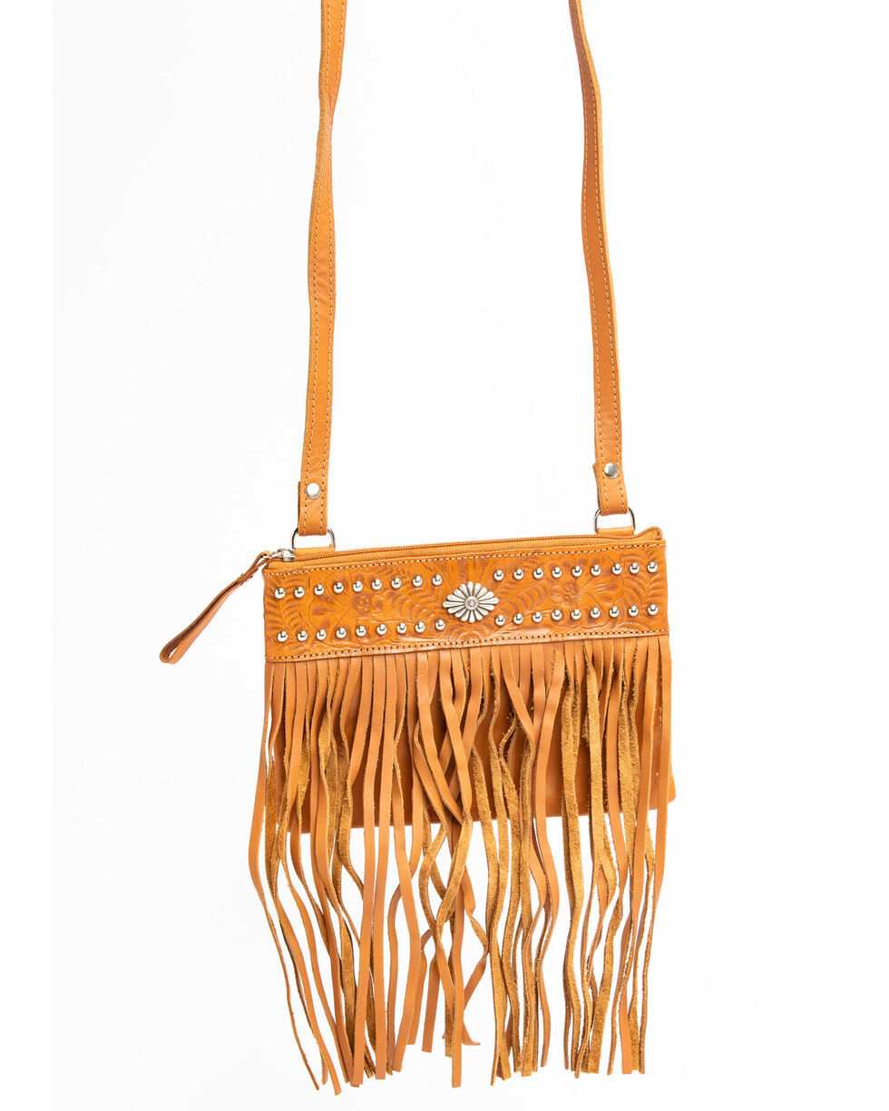 American West Fringe Crossbody Handbag, Tan, hi-res