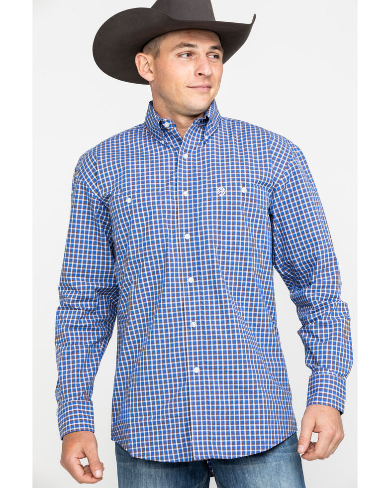 George Strait by Wrangler Men's Royal Poplin Plaid Long Sleeve Western Shirt , Royal Blue, hi-res