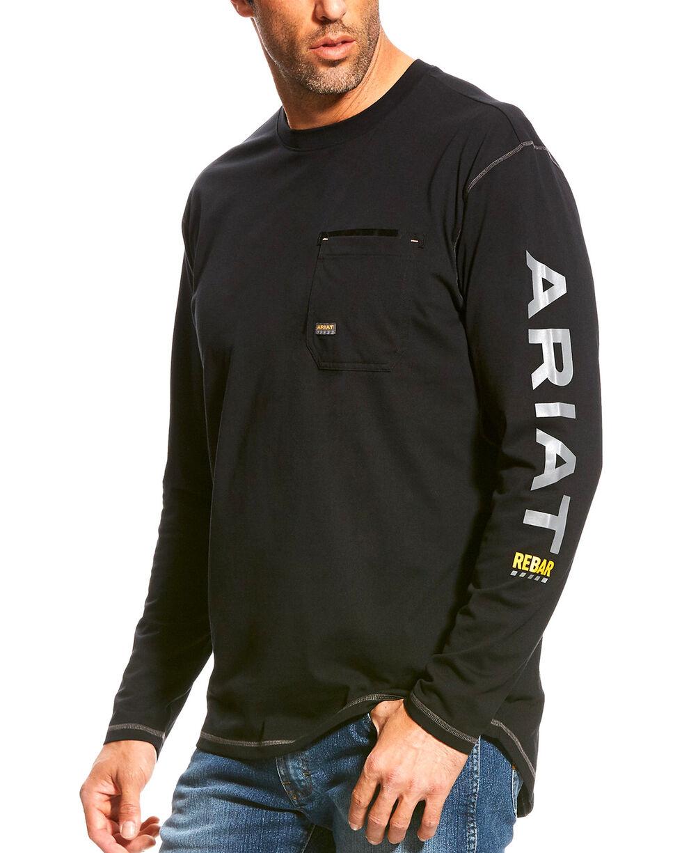 Ariat Men's Rebar Black Long Sleeve Logo Crew T-Shirt, Black, hi-res