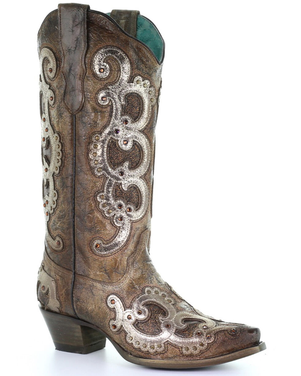 Corral Women's Grey Overlay Western Boots - Snip Toe, Brown, hi-res