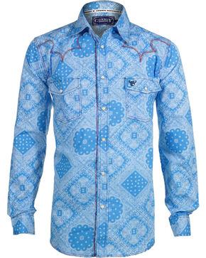 Cowboy Hardware Men's Long Sleeve Western Shirt, Blue, hi-res
