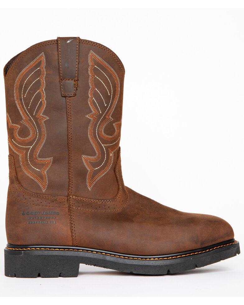 Cody James Men's Waterproof Pull On Work Boots - Composite Toe , Brown, hi-res