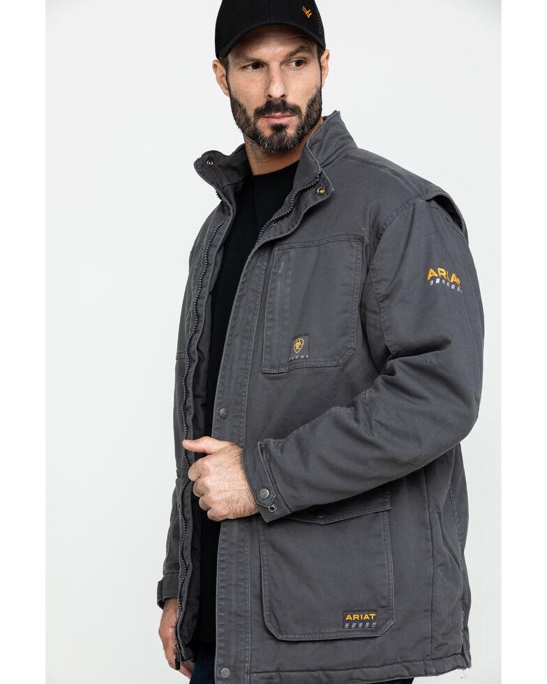 Ariat Men's Rebar Washed Dura Canvas Insulated Work Coat - Big & Tall , Grey, hi-res
