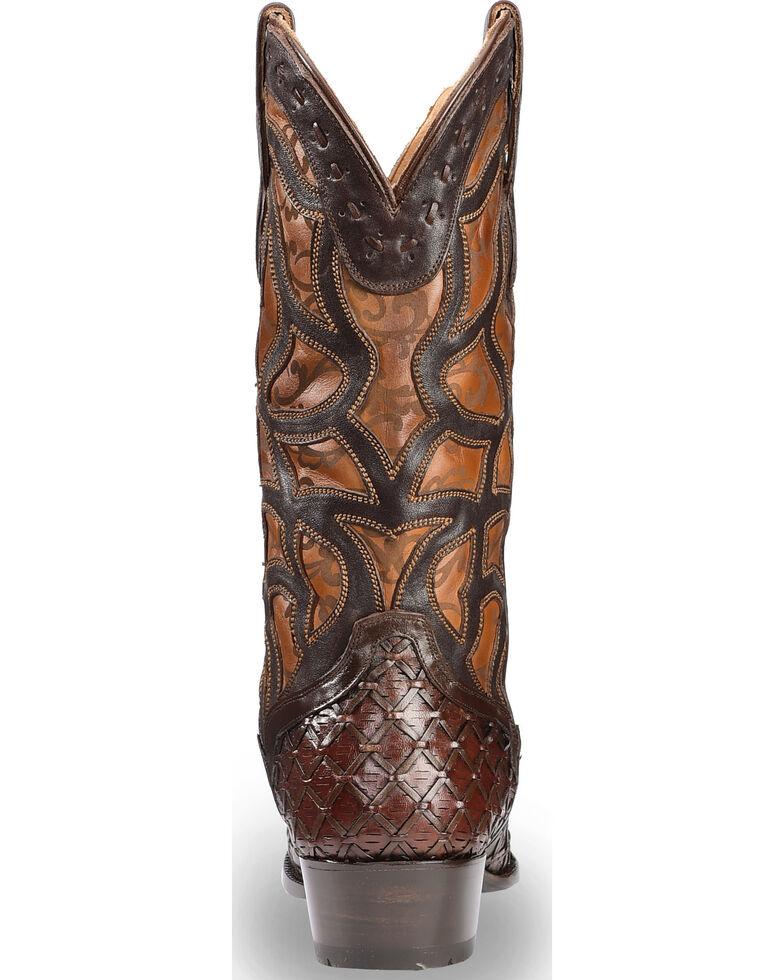 El Dorado Men's Handmade Basket Weave and Inlay Western Boots - Medium Toe, Chocolate, hi-res