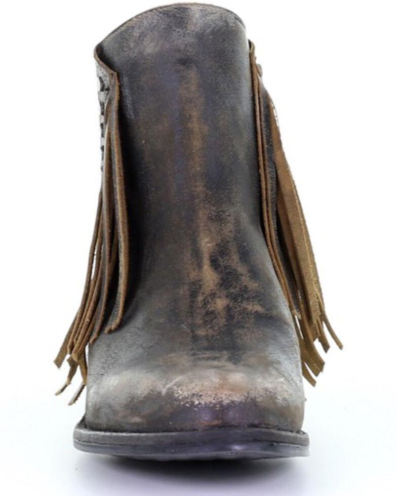 Corral Women's Studded Fringe Fashion Booties - Round Toe, Black, hi-res