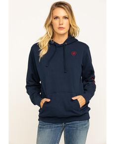Ariat Women's Navy Logo Hoodie Sweatshirt, Navy, hi-res