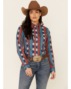 Wrangler Women's Teal Aztec Stripe Long Sleeve Snap Western Core Shirt , Teal, hi-res