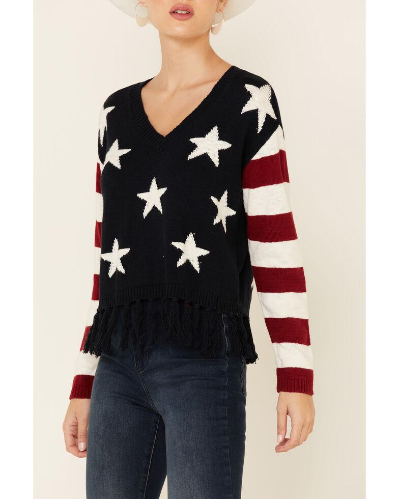 Shyanne Women's Navy Stars Fringe Sweater , Navy, hi-res