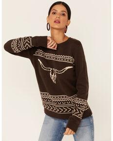 Cotton & Rye Women's Bullhorn Sweater, Brown, hi-res