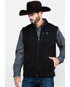 Cinch Men's Full Zip Fleece Sweater Vest , Black, hi-res