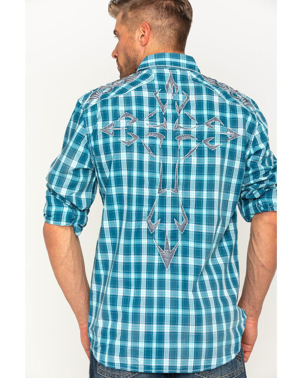 Austin Season Men's Plaid Embroidered Cross Button Down Shirt, Blue, hi-res