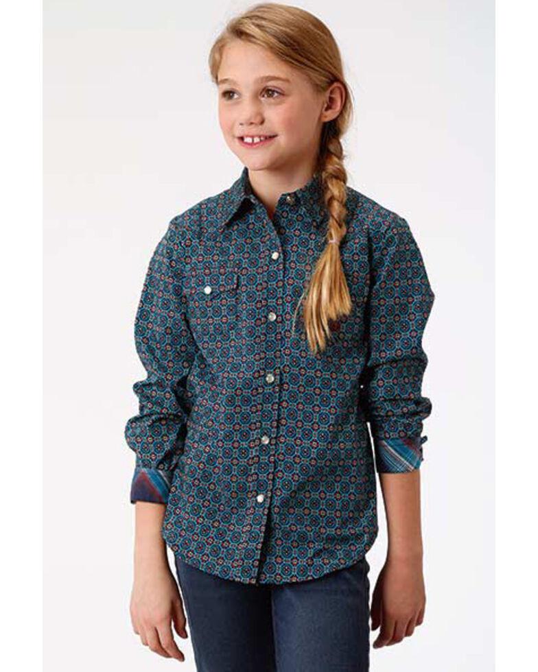 Roper Girls' Blue Geo Print Snap Long Sleeve Western Shirt, Blue, hi-res
