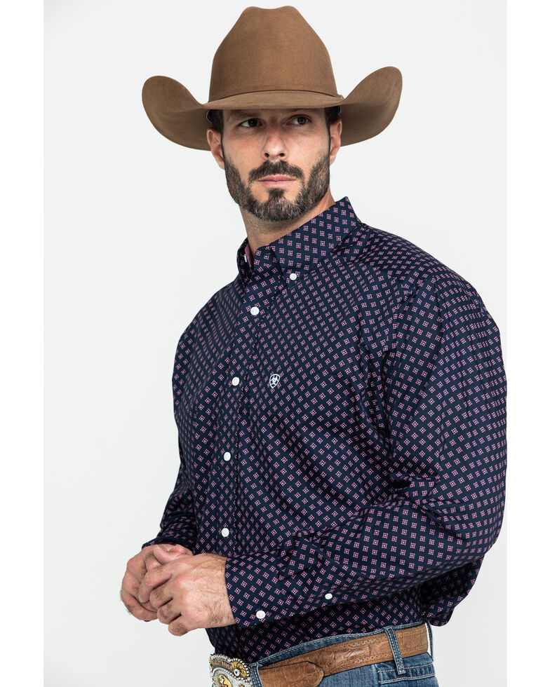 Ariat Men's Wrinkle Free Indham Small Geo Print Long Sleeve Western Shirt - Tall , Navy, hi-res